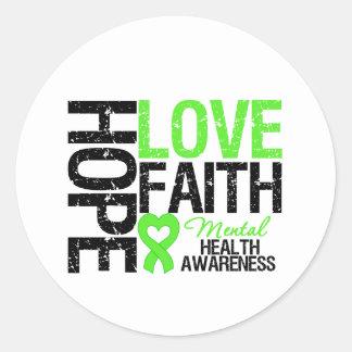 Hope Love Faith Mental Health Awareness Round Sticker