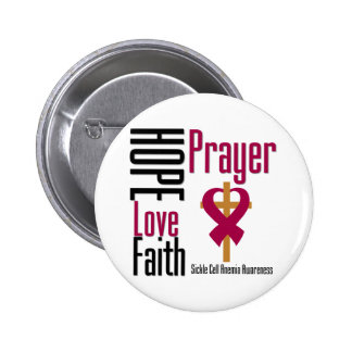 Hope Love Faith Prayer Sickle Cell Anemia 6 Cm Round Badge