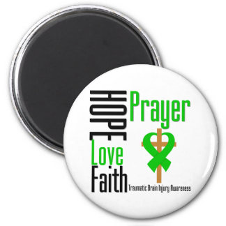 Hope Love Faith Prayer Traumatic Brain Injury 6 Cm Round Magnet