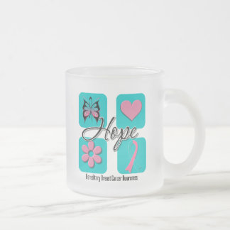 Hope Love Inspire Hereditary Breast Cancer Frosted Glass Mug