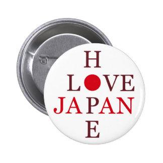 HOPE LOVE JAPAN 6 CM ROUND BADGE