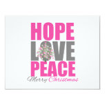Hope Love Peace Merry Christmas Tree Personalised Announcements