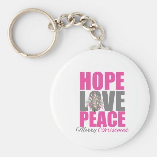 Hope Love Peace Merry Christmas Tree Basic Round Button Key Ring
