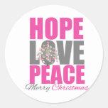 Hope Love Peace Merry Christmas Tree Round Sticker
