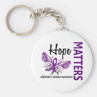 Hope Matters Butterfly Alzheimer's Disease Basic Round Button Key Ring