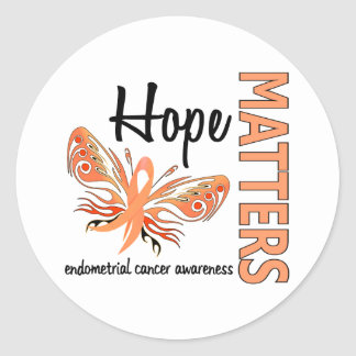 Hope Matters Butterfly Endometrial Cancer Round Sticker