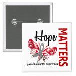 Hope Matters Butterfly Juvenile Diabetes 15 Cm Square Badge