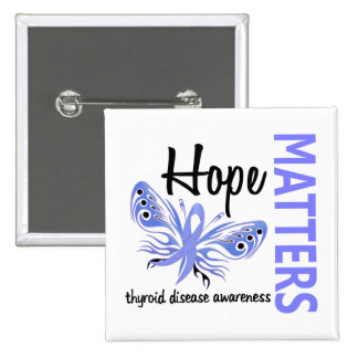 Hope Matters Butterfly Thyroid Disease 15 Cm Square Badge