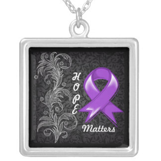 Hope Matters Ribbon GIST Cancer Square Pendant Necklace