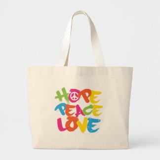 Hope Peace Love Large Tote Bag