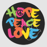 Hope Peace Love Stickers