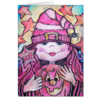 Hope Pink Halloween Witch Greeting Card