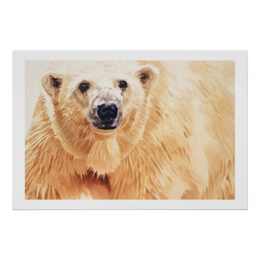 """Hope"" Polar Bear Wildlife Watercolor Art Poster"