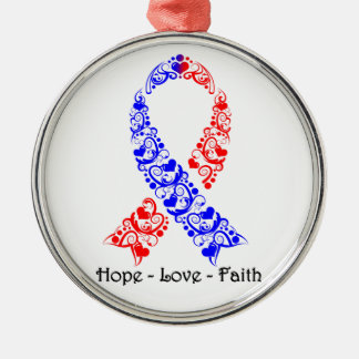 Hope Red and Blue Awareness Ribbon Silver-Colored Round Decoration