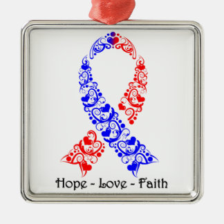 Hope Red and Blue Awareness Ribbon Silver-Colored Square Decoration