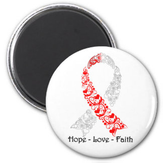 Hope Red and White Awareness Ribbon 6 Cm Round Magnet