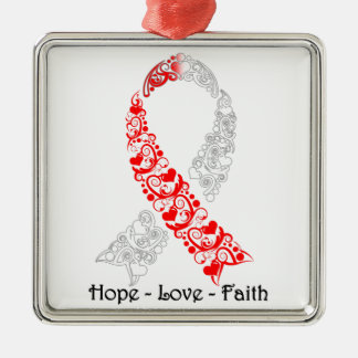 Hope Red and White Awareness Ribbon Silver-Colored Square Decoration