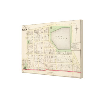 Hope Reservoir and St Johns Episcopal Church Map Canvas Print