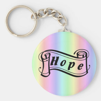 Hope scroll on rainbow basic round button key ring