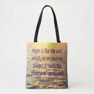 Hope Sunset Sunrise Positive Quote Tote Bag Purse