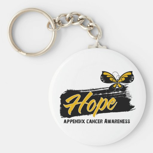 Hope Tattoo Butterfly Appendix Cancer Key Chain
