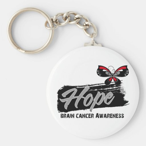 Hope Tattoo Butterfly Brain Cancer Keychains