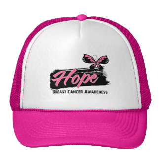 Hope Tattoo Butterfly Breast Cancer Mesh Hat
