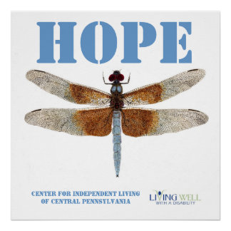 Hope -with a Blue Dragonfly Poster
