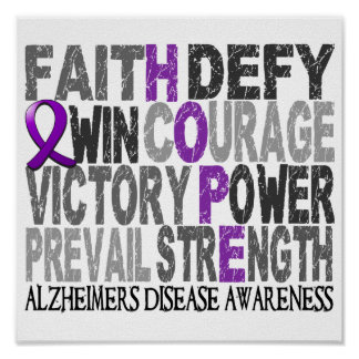 Hope Word Collage Alzheimer's Disease Poster