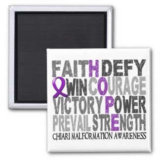 Hope Word Collage Chiari Malformation Square Magnet