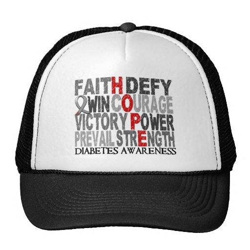Hope Word Collage Diabetes Mesh Hat