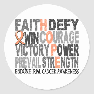 Hope Word Collage Endometrial Cancer Round Sticker
