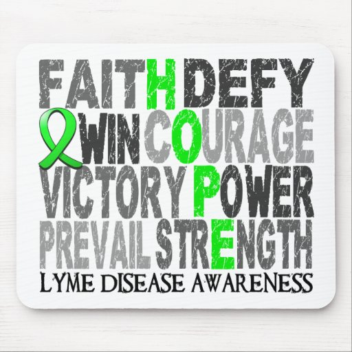 Hope Word Collage Lyme Disease Mousepads