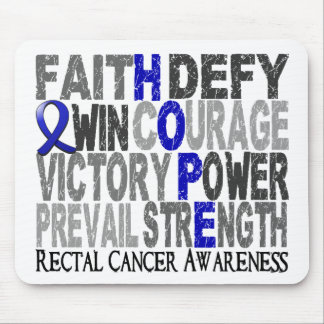 Hope Word Collage Rectal Cancer Mousepad