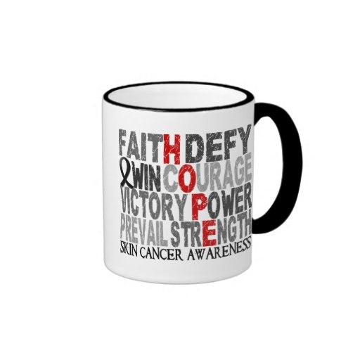 Hope Word Collage Skin Cancer Mugs