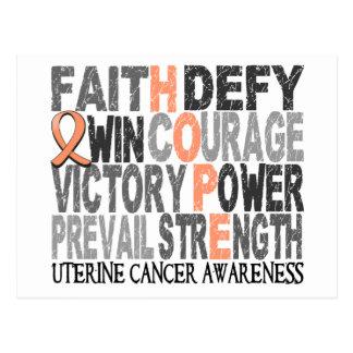 Hope Word Collage Uterine Cancer Postcard
