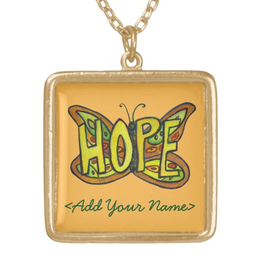 Hope Word Orange Butterfly Custom Name Necklaces