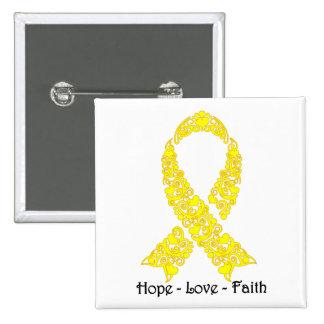Hope Yellow Awareness Ribbon 15 Cm Square Badge