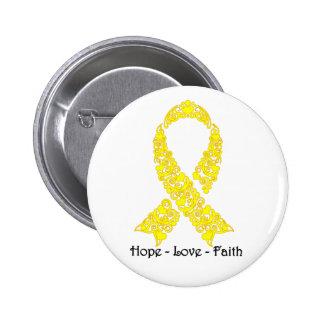 Hope Yellow Awareness Ribbon 6 Cm Round Badge