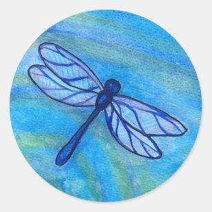 Hopeful Blue Dragonfly Spirit Watercolor Classic Round Sticker