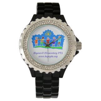 HopePTA Watch - Rhinestone/Black Enamel