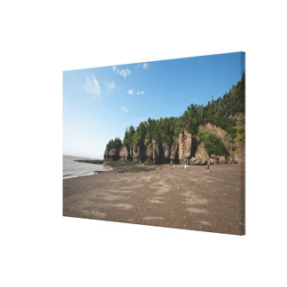 Hopewell Rocks and The Ocean Tidal Exploration Stretched Canvas Print