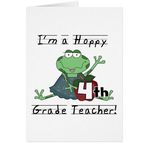 Hoppy 4th Grade Teacher T-shirts and Gifts Card