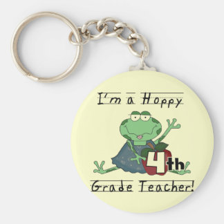 Hoppy 4th Grade Teacher T-shirts and Gifts Basic Round Button Key Ring