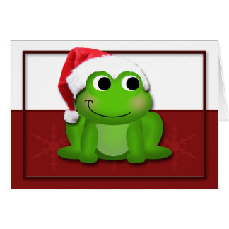 Hoppy Christmas Santa Hat Froggy Card