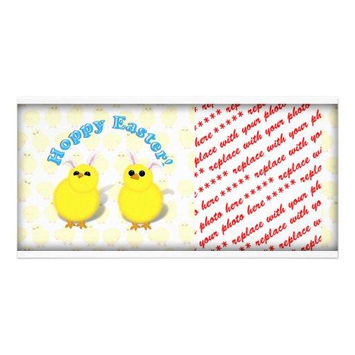 HOPPY EASTER!  Baby Chicks w/Bunny Ears Photo Greeting Card