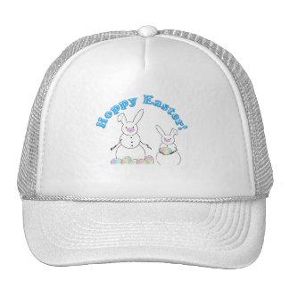 Hoppy Easter Snow Bunnies (Blue Text) Cap