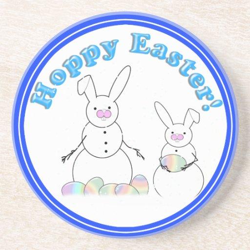 Hoppy Easter Snow Bunnies (Blue Text) Coaster