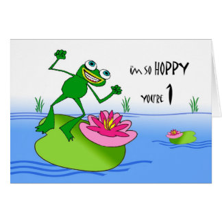 Hoppy First Birthday, Funny Frog at Pond Cards