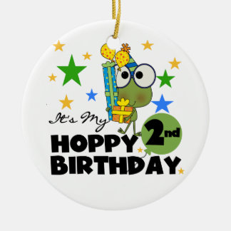 Hoppy Frog 2nd Birthday T-shirts and Gifts Christmas Ornament